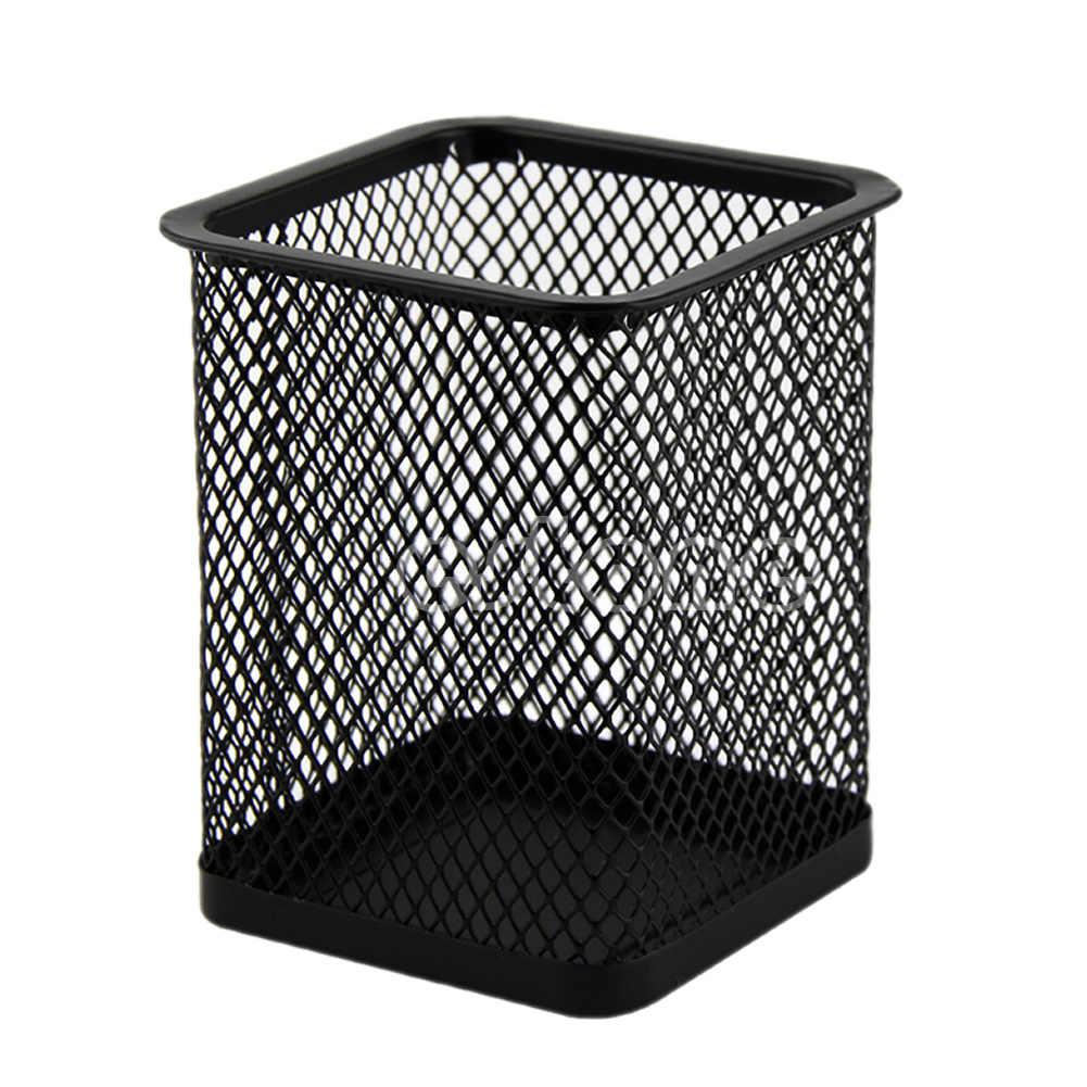 長方形メッシュスタイル金属黒鉛筆ホルダーオーガナイザーデスクペンコンテナ