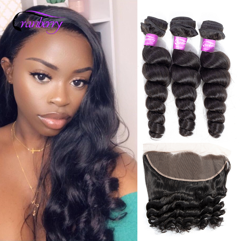Cranberry Hair 100% Remy Hair Brazilian Hair Bundles With Closure Loose Wave Bundles With Frontal 13*4 Ear To Ear Closure