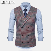Men's Plaid Casual Suit Vests Double-breasted Sleeveless Vest Brown White Red S-2XL Clothes Male A126(China)