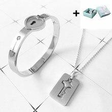 Um par de amantes jóias amor coração bloqueio pulseira pulseiras de aço inoxidável chave pingente colar jóias com caixa de presente