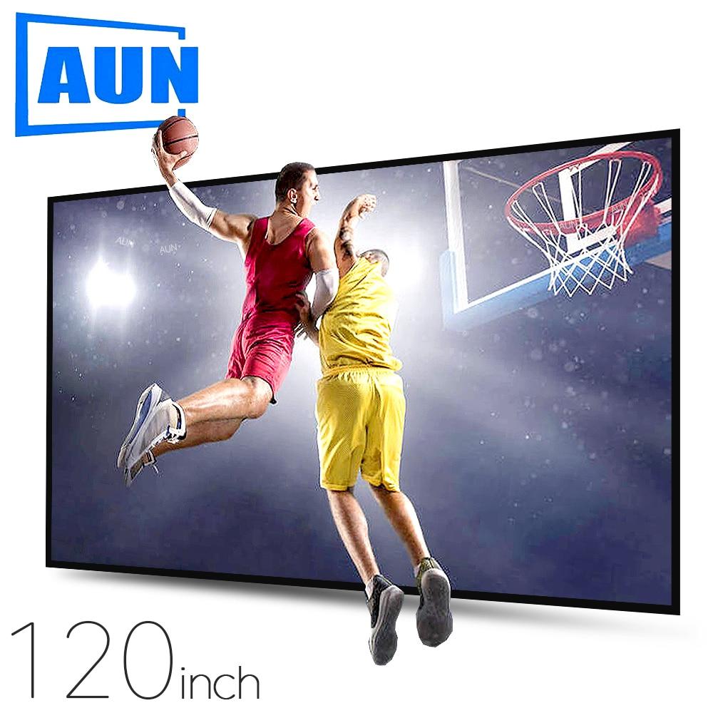 AUN анти-Светильник проектор Экран 120/100/60 дюймов. 16:9 светоотражающая ткань домашний кинотеатр, ALR экран 4K 1080P проектор светодиодный/DLP