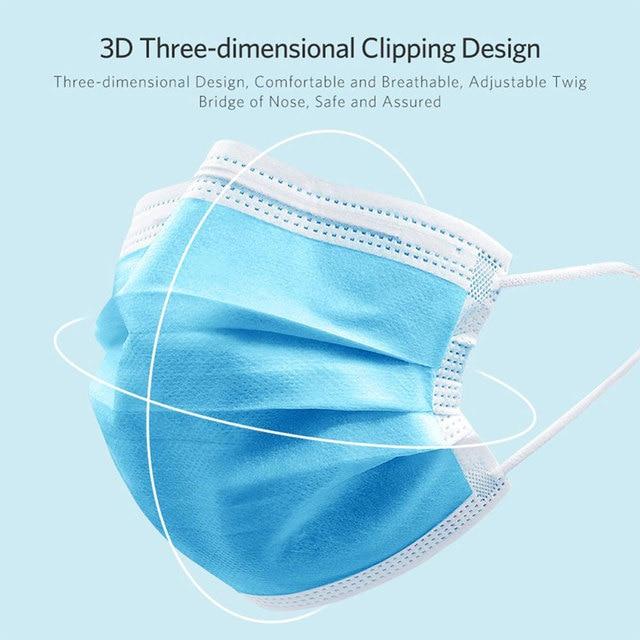 200 PCS Disposable Face Mask 3 Layer Mouth Masks Filter Ear Loop Maske Earloop Cover Mask Safety Breathing Maska 4