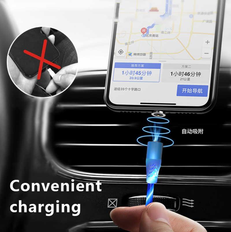 2.4A Lampu LED Magnet TYPE C MICRO Kabel USB untuk Huawei Smasung Magnetik Pengisian Cepat Pin Kabel Charger Usb C Kabel Data
