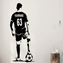 Custom Name Football Decal  Soccer Player Wall Art Vinyl Sticker Personalized And Jersey Numbers A725