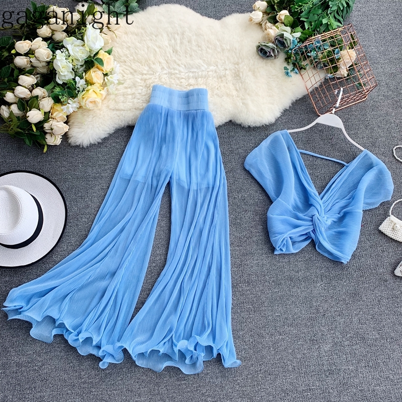 Gaganight Sexy Women Outfit Two Pieces Set Long Wide Leg Pant Elastic Waist Fashion 2 Pieces Set Elegant Blouse Tops Suit Korean