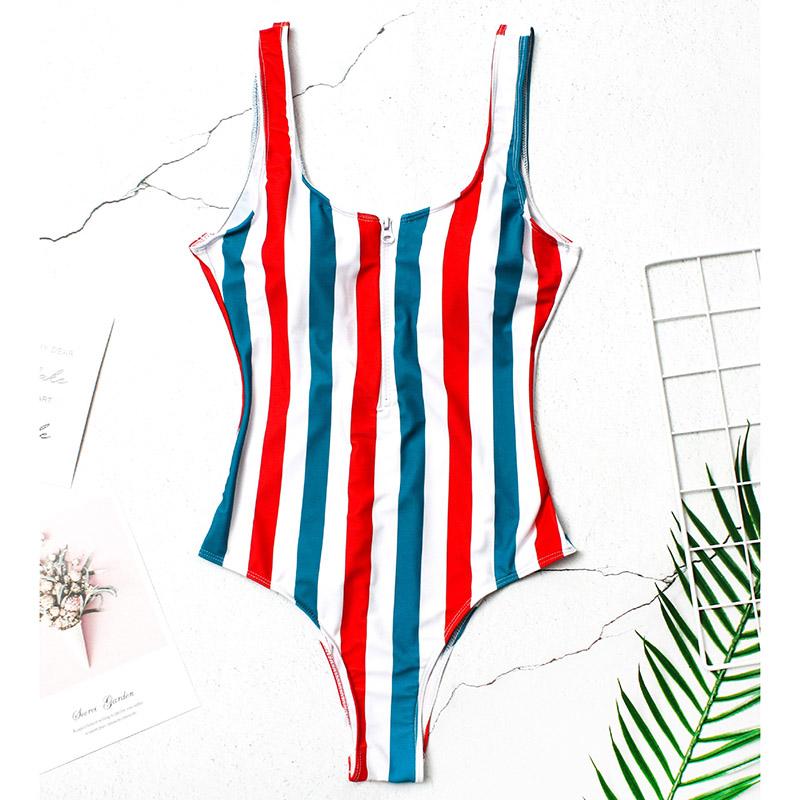INGAGA, сексуальный цельный купальник на молнии, полосатый купальник, женская одежда для плавания с открытой спиной, монокини, спортивный купа... 42
