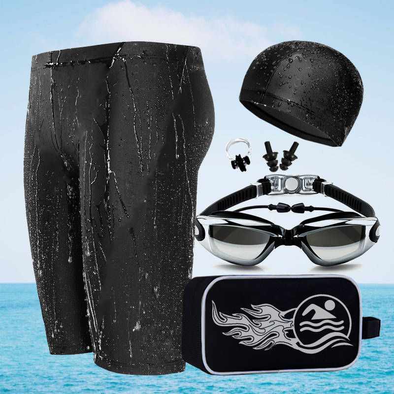 Men Shark Skin Swimming Trunks Goggles Swimming Cap Boxer Plus-sized-Style Swimming Trunks Set Five Pieces Set Hot Springs Swimm