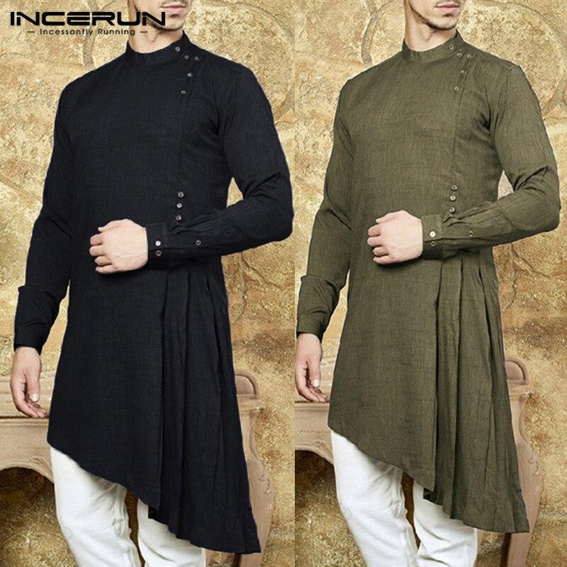 INCERUN Men Shirt Indian Kurta Solid Color Long Sleeve Cotton Casual Tops Stand Collar Men Islamic Muslim Men Long Shirts 2020