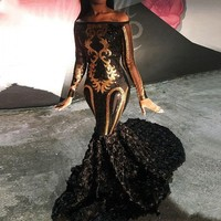 Sexy Black Girls Prom Dresses 2020 Sheer Long Sleeve Mermaid Party Dress Boat Neck Golden Sequin African Evening Gowns vestidos