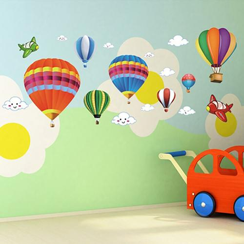 Cartoon Airplane Hot Air Balloons Removable Wall Sticker Nursery Kids Room Home Decoration Nursery Bedroom Wall Decal Stickers image