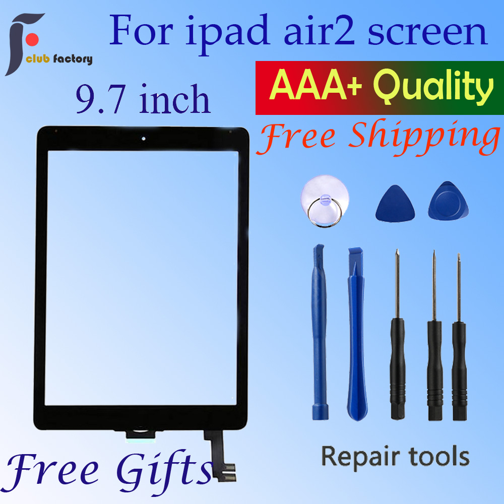 - White 2nd Generation iPad Air Front Glass Replacement with Home Button /& Tool Repair Kit A1566, A1567 Touch Screen Digitizer for iPad Air 2 9.7 inch