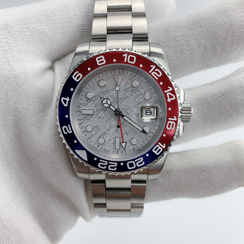 Watch Men Automatic Mechanical GMT 40MM Meteorite Dial Sapphire Crystal blue red Ceramic Bezel Waterproof Luminous