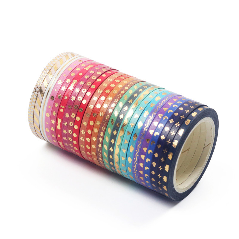24pcs Mini Gold Color Washi Tape Set 3mm Decoration Star Bowknot Love Slim Masking Tapes Stickers Scrapbooking Frame Gift A6815