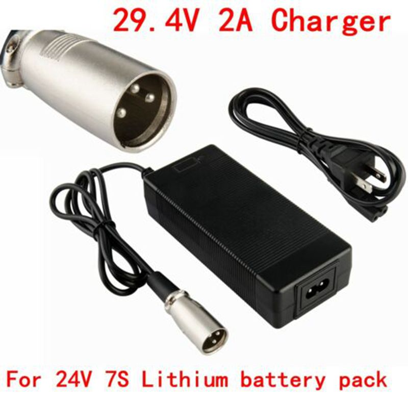29 4 V 2A charger Lithium battery pack of 29 4 V e bike charger EU AU US Plug XLRM charger con in Portable Lighting Accessories from Lights Lighting