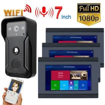 3 monitores 7 pulgadas con Cable Wifi Video puerta teléfono timbre intercomunicador sistema de entrada con HD 1080P cable Cámara noche visión