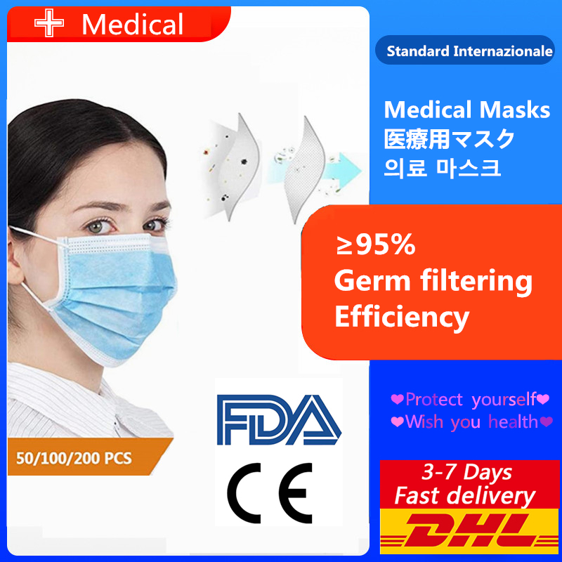 Fast delivery high quality 3-layer mask Face Mouth Masks Non Woven Disposable Anti-Dust Meltblown cloth Masks Earloops Masks