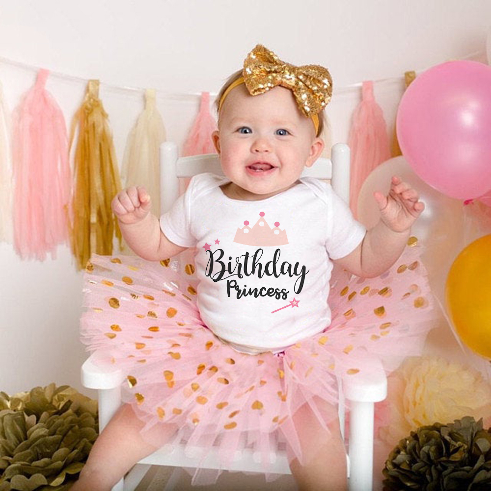0-24m Birthday Princess Baby Short-sleeved First Birthday Party Sets Girls Pink Tutu Cake Suit Baby Girls Outfits Shower Gift