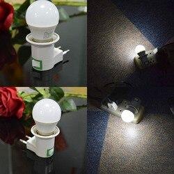 Lámpara de noche E27, luz de enchufe de la ue, 220V, 5W, luces Led nocturnas con enchufe de interruptor, base de soporte E27, luz nocturna
