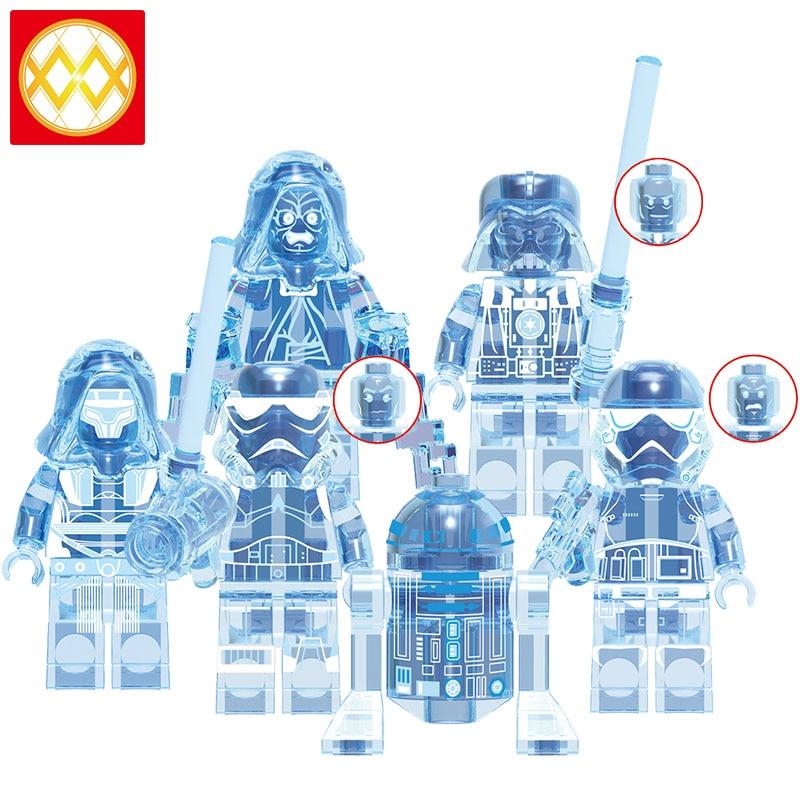 lEGOED X0287 Star Wars Holographic Paspavan Darwin Darwin Darth Vader Transparent MINIFIGURED Collection Building Blocks Toys