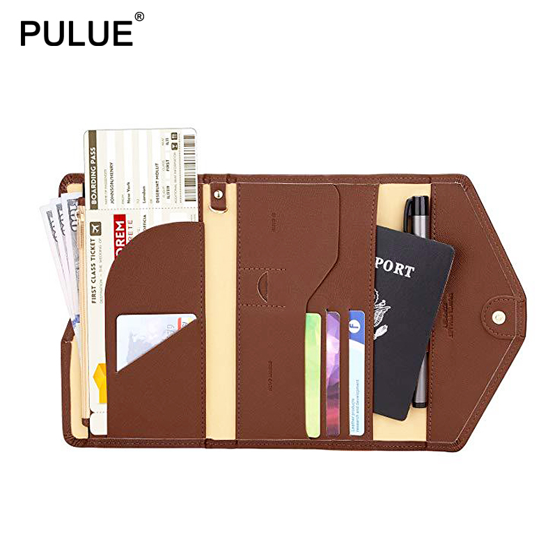 Unisex Multi-purpose Folding Travel Passport Wallet Leather Passport Cover ID Credit Card Holder Bag Document Organizer Holders