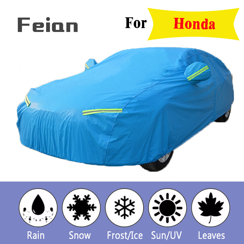 Plus thick velvet Waterproof Full Blue Car Cover Outdoor uv protection dust rain snow protective SUV sedan hatchback for Honda image