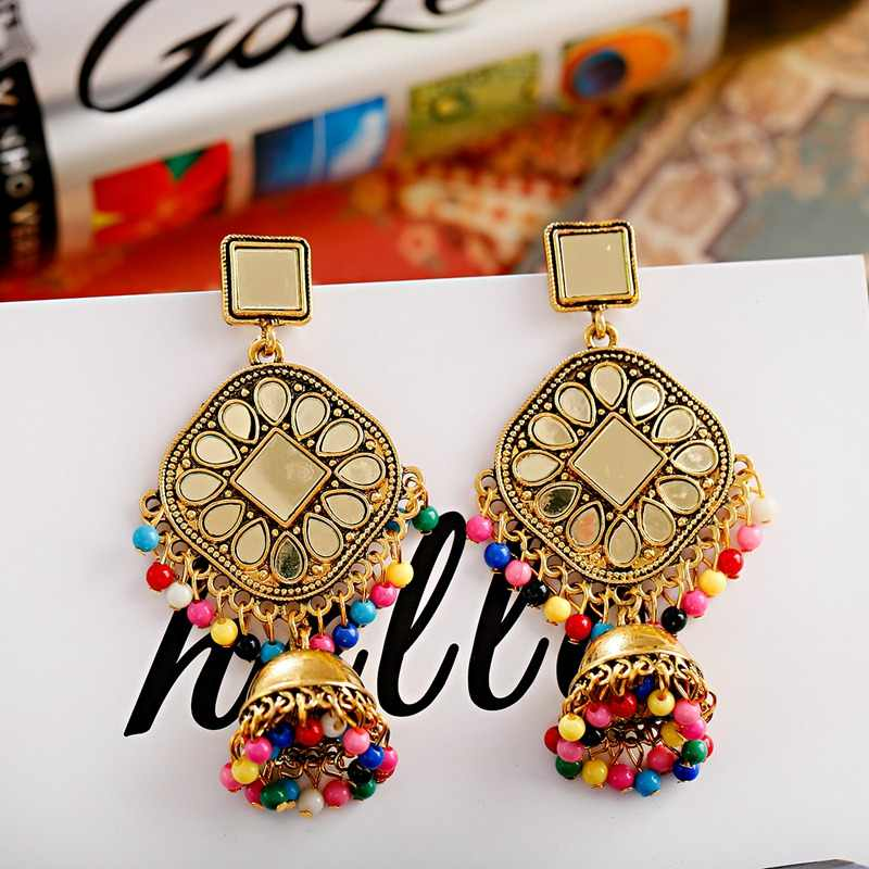 OIQUEI mode perles colorées gland indien Jhumka bijoux boucles d'oreilles pour femmes filles or métal carré miroir goutte d'eau boucles d'oreilles