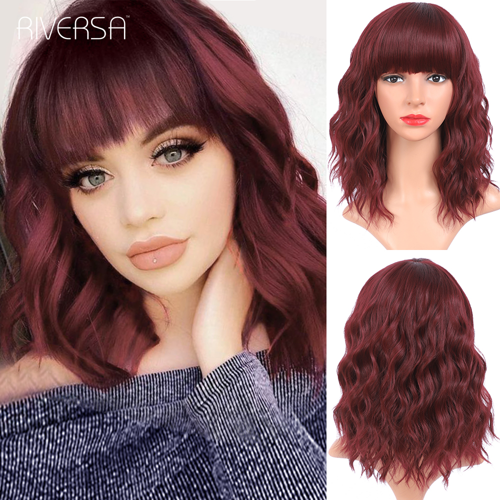 Red Wine Synthetic Hair Wigs Burgundy Lolita Fiber Wigs for Women Short Bob Wig With Bangs 14inch Wavy Hair Wigs парики женские