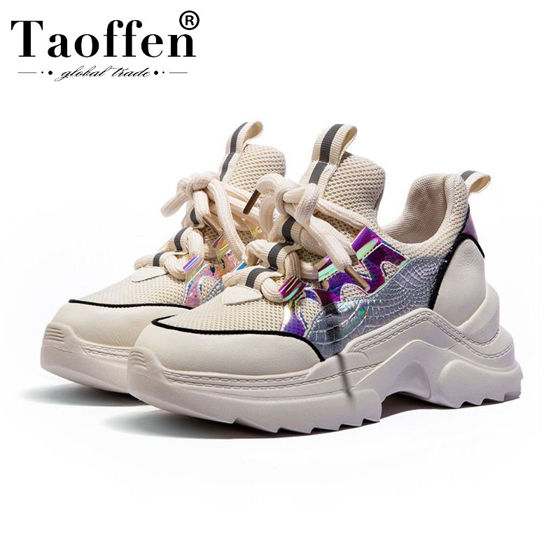 Taoffen Lady High Heels Fashion Sneakers Real Leather Thick Bottom Colorful Daily Shoes Woman Classics Platform Shoes Size 35-40