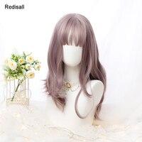 Mixed Colors Harajuku Lolita Wig Sweet Long Wavy Cute Synthetic Hair Fringe Bangs Adult Girls