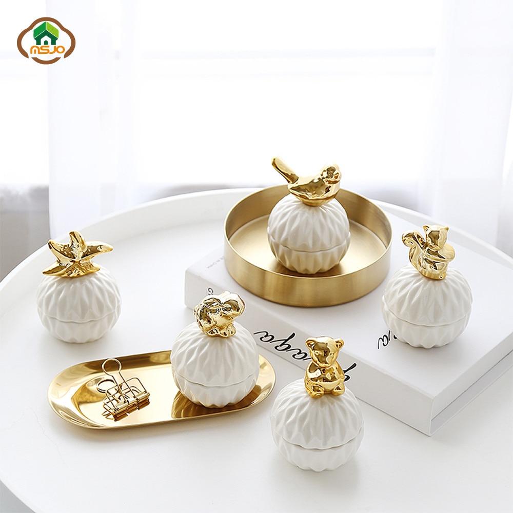 MSJO Jewelry Storage Box Organizer For Women Golden Ceramic Necklace Ring Earrings Dustproof Mini Jewelry Desktop Organization