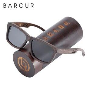 Image 5 - Barcur 正方形サングラス竹女性ブラウンウッドサングラス男性偏ヴィンテージ oculos デゾルリュネット · ド · ソレイユ