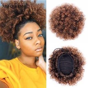 Короткие кудрявые афро-волосы AISI QUEENS, синтетические пушистые кудрявые шиньоны с кулиской, конский хвост, накладные волосы для наращивания