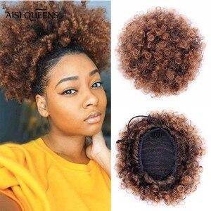 Aisi rainhas sintético puff afro curto kinky encaracolado chignon cabelo bun cordão rabo de cavalo wrap hairpiece extensões de cabelo falso