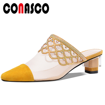 CONASCO Summer Mesh Fashion Concise Casual Women Kid Suede Sandals Rhinestone Pumps Slippers Shoes Woman High Heels Mules New