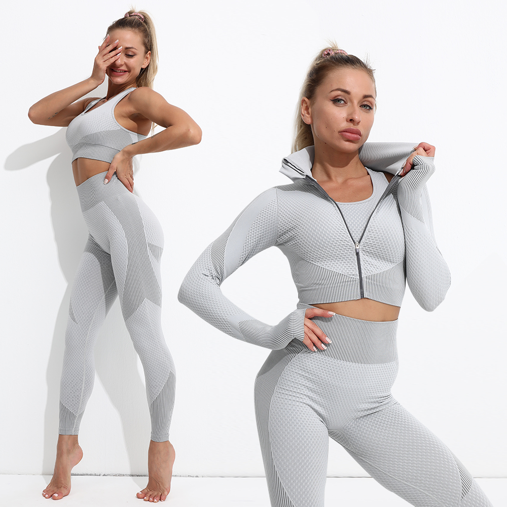 Yoga Set Workout gym clothing fitness for Women's tracksuit outfit leggings Sport bras top Long sleeve Women Sportswear Suit 3