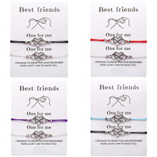 2pcs/set Bohemian Heart Couples Bracelets Set For Women Men Infinite Bracelet Bangle Best Friend Wish Jewelry Message Card