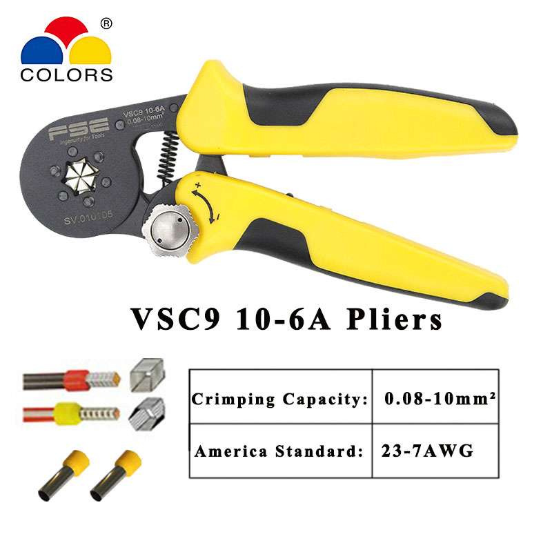 Crimping Pliers Tools VSC9 10-6A 0.08-10mm2 23-7AWG 360/800p Terminal For Tube Type Needle Type Terminal Manual Adjustable Tools
