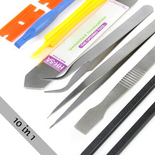 10Pcs/Set Cell Phone Repair Opening Pry Disassemble Tool Set Spudger Tweezer Kit OUJ99 цена