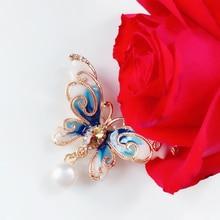 Butterfly Rhinestone Brooches Women Vintage Pearl Creative Enamel Pin Jewelry Animal Zircon Collar Pins Diy Wholesale enamel bird shape with rhinestone on branches brooches
