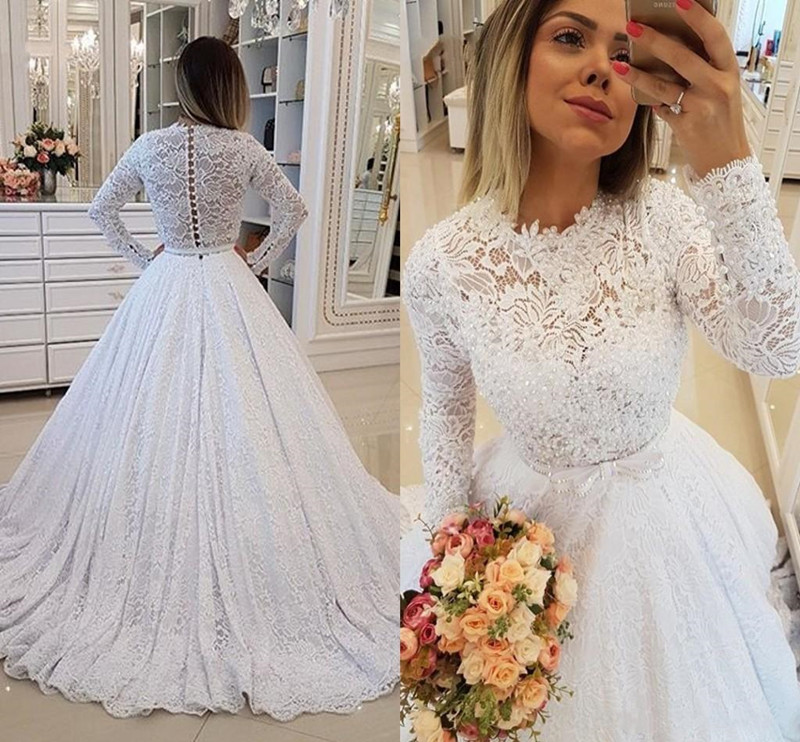2020 Glitter Pearls Princess Winter Wedding Dresses With Long Sleeves Empire Waist A-line Bridal Gown Custom Size