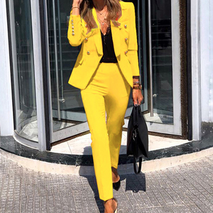Office Lady Two-Piece Formal Suit New Fashion Women Solid Color Button Long Sleeve Trousers Ladies Business Casual Suit Outfits