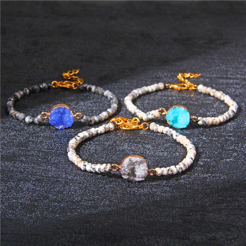Moda Druzy kristal bilezik doğal taş boncuklu bileklik kuvars Druzy Charm bilezik kadın erkek Femme Boho takı hediyeler