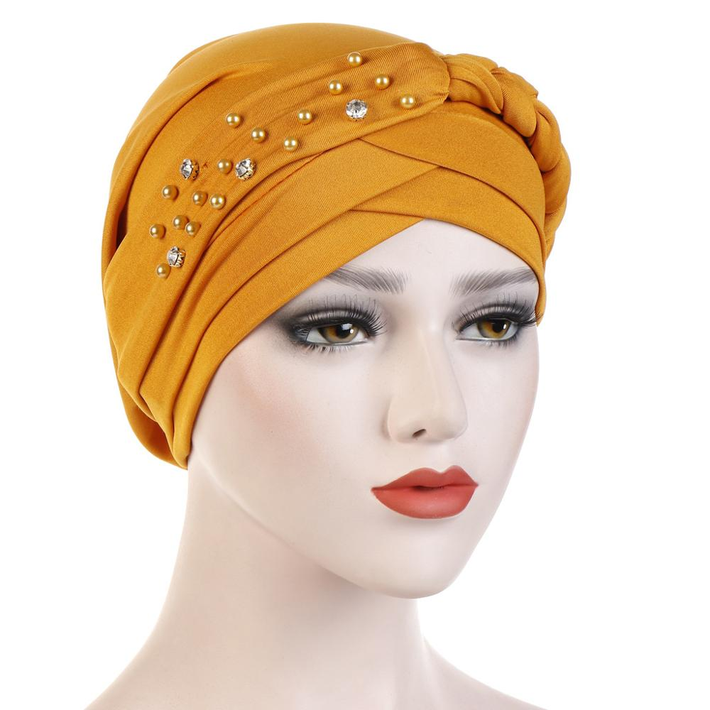 New Spring And Autumn Muslim Hijab Caps Solid Color Cotton Bead Turban Bonnet With Drill Inner Hijabs Underscarf Women Headdress
