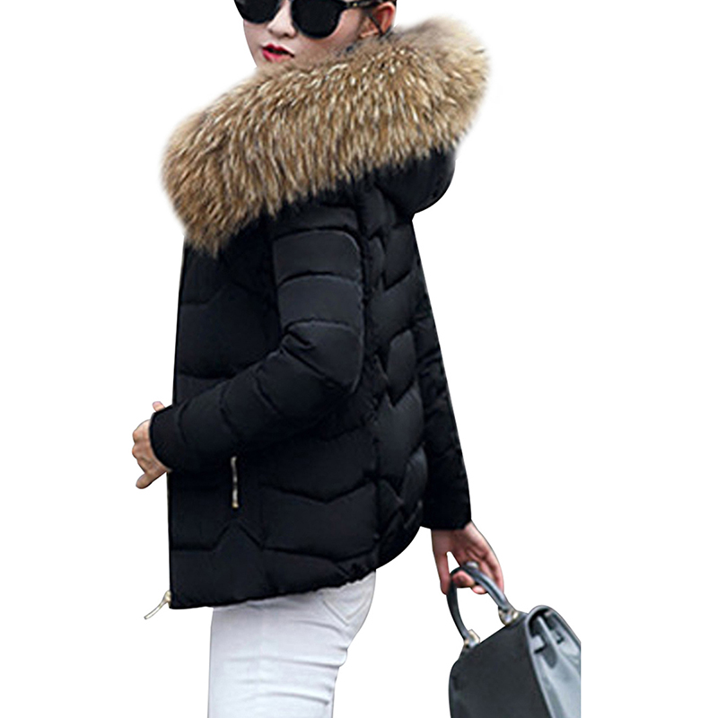 Image 3 - Winter Down Jackets Women Fashion Warm Coat Cotton Thickening  Parka Fur Collar Jackets with Hooded Detachable Cap Winter  ClothesParkas
