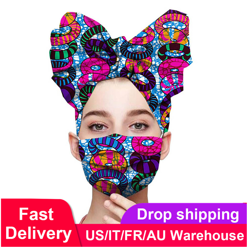 African Dresses for Women Batik Pure Cotton Headscarf with Dust Proof Face Mask Dashiki Pattern Printing African Head Wraps