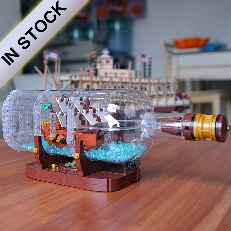 16051 In Stock Ideas Ship Boat In A Bottle Pirates of the Caribbean Ship 1078Pcs <font><b>21313</b></font> Model Building Blocks Bricks 1036 11050 image