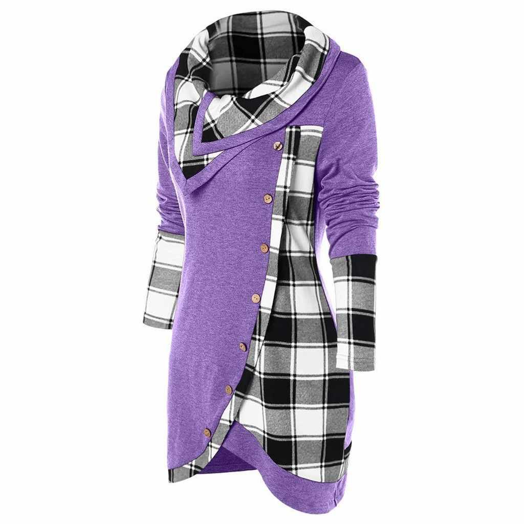 เสื้อ 2019 แฟชั่นแขนยาวลายสก๊อตคอ Tartan ยาวเสื้อกีฬาเสื้อด้านบนไม่สม่ำเสมอ Hem Streetwear roupas #20