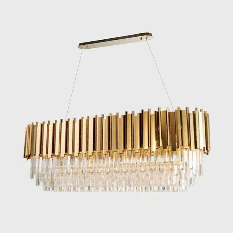 Manggic moderna lâmpada de cristal lustre para sala estar oval luxo ouro redondo aço inoxidável linha lustres iluminação