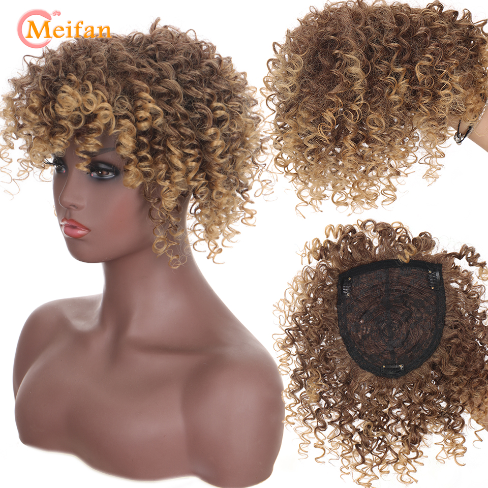 MEIFAN Synthetic Top hairpiece Kinky Curly Closure Hair Pieces With Bangs Natural Ombre Golden For African Black Women