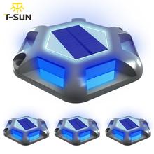 T-SUN 6LEDS niebieskie światło lampa słoneczna zewnętrzne słoneczne lampy ogrodowe IP65 wodoodporne podziemne lampy na ścieżka ogrodowa schody podłogowe Decor tanie tanio T-SUNRISE CN (pochodzenie) ROHS Solar Power TS-G7008-grey-blue Z aluminium DO DEKORACJI Żarówki LED We współczesnym stylu